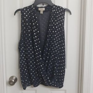 Gold and navy blouse